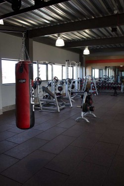 glo gym freeweights and punching bag area