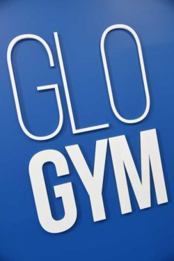 glo gym oldham interior signage