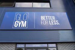 glo gym oldham exterior signage