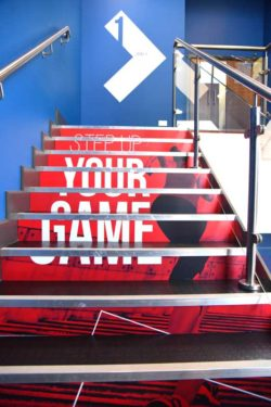 glo gym oldham vinyl wrapped stairs